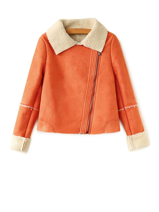 women's Lamb Wool Splicing Long Sleeve Jacket - ORANGE M