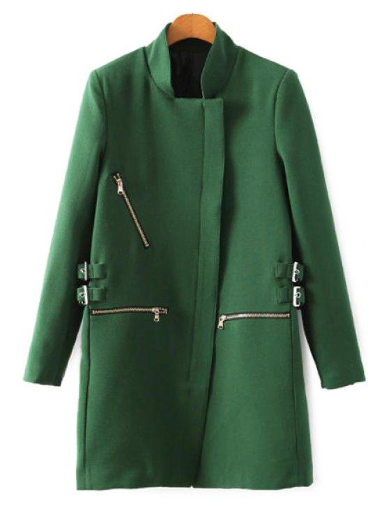 women Stand Collar Solid Color Zipper Coat - GREEN S