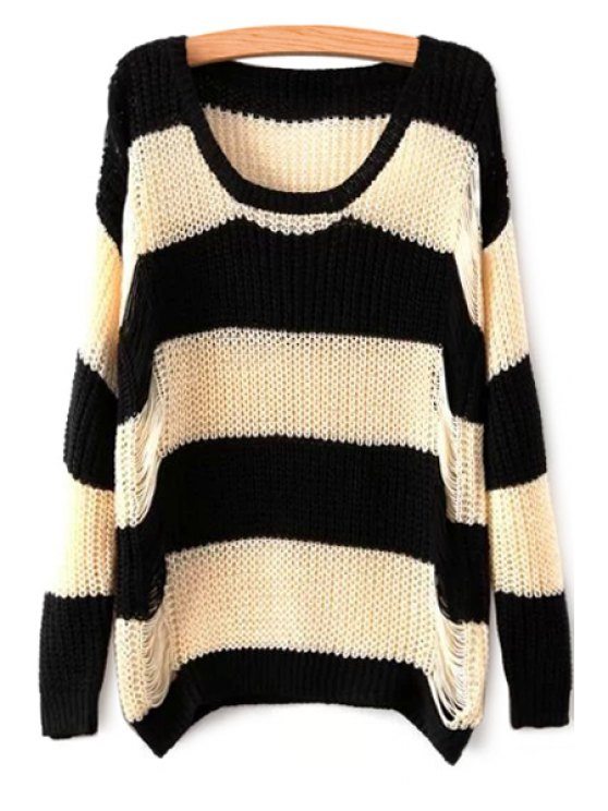 women's Striped Long Sleeve Broken Hole Sweater - STRIPE ONE SIZE(FIT SIZE XS TO M)