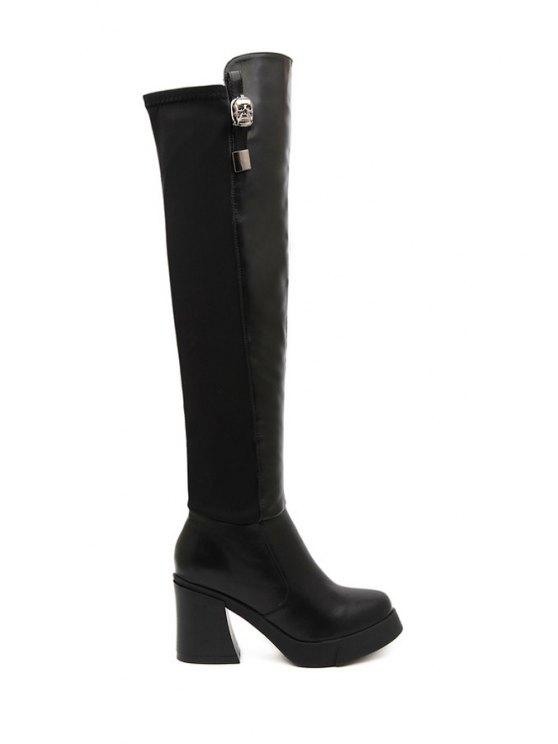 ladies Black Metallic Chunky Heel Thigh Boots - BLACK 35