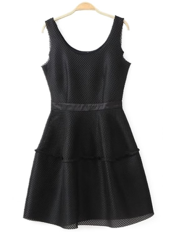 women's Solid Color Mesh Design Sundress - BLACK S
