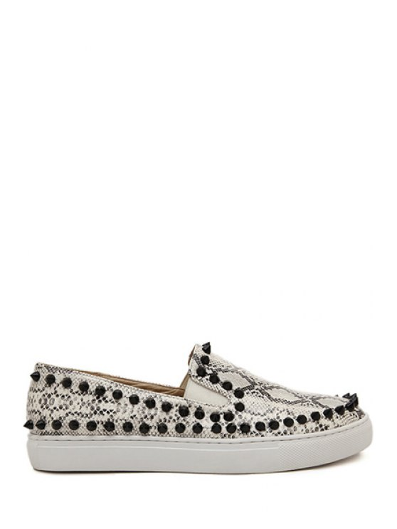 buy Snake Print Round Toe Rivets Flat Shoes - SILVER GRAY 35