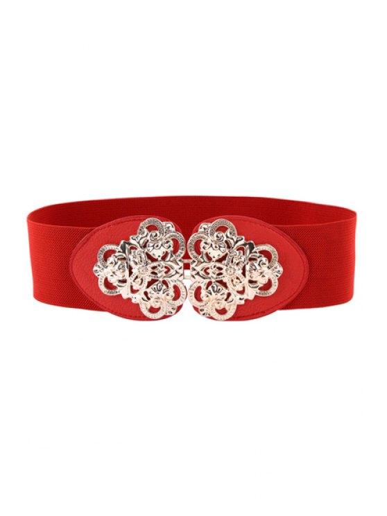 online Flower Metal Buckle Elastic Belt - RED