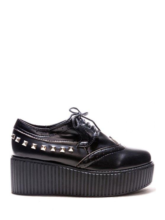 women Rivets Hollow Out Platform Shoes - BLACK 35
