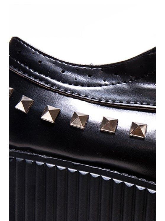 Rivets Hollow Out Platform Shoes - BLACK 37 Mobile