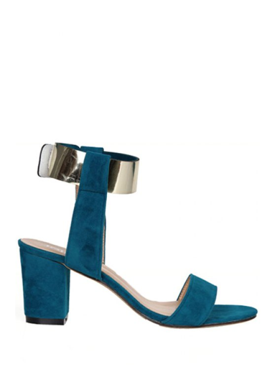 outfits Suede Chunky Heel Metallic Sandals - BLUE 35