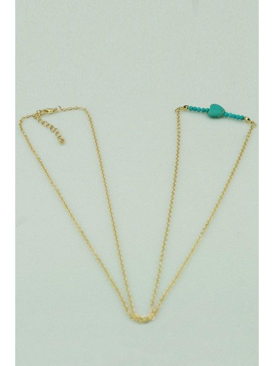 fashion Kallaite Heart Shape Body Chain - GOLDEN