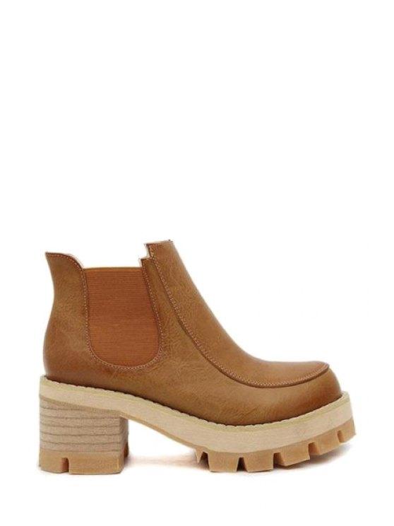 sale Elastic Rond Toe Chunky Heel Boots - BROWN 35