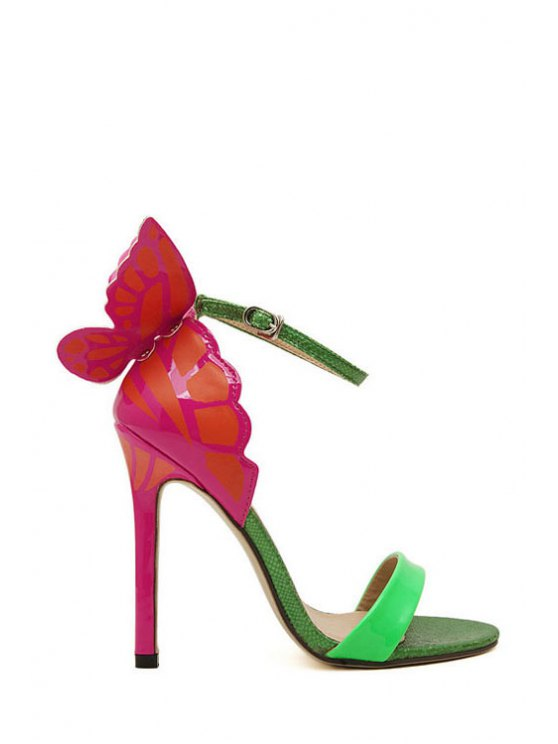 affordable Butterfly Color Block Stiletto Heel Sandals - GREEN 35