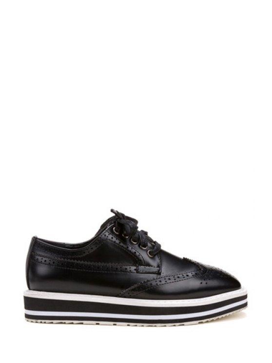 latest Engraving Square Toe Lace-Up Platform Shoes - BLACK 35