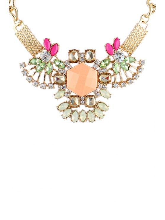 buy Faux Gem Flower Necklace - PINK