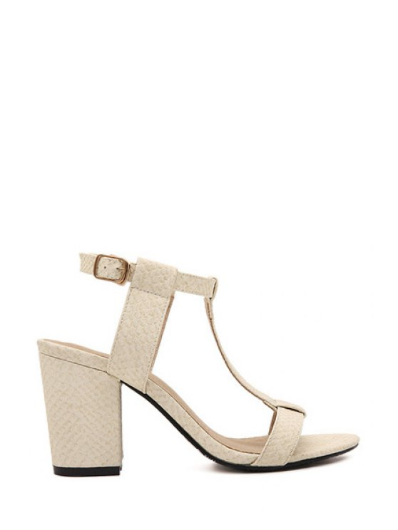 chic Chunky Heel T-Strap Solid Color Sandals - APRICOT 35