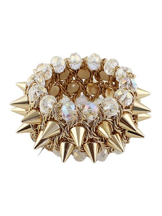 trendy Rivet and Faux Gem Bracelet - WHITE AND GOLDEN