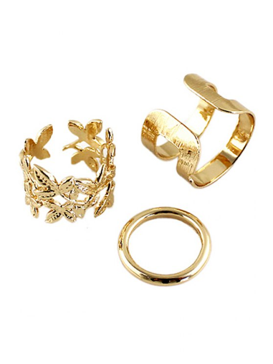 affordable 3PCS Solid Color Rings - GOLDEN ONE-SIZE