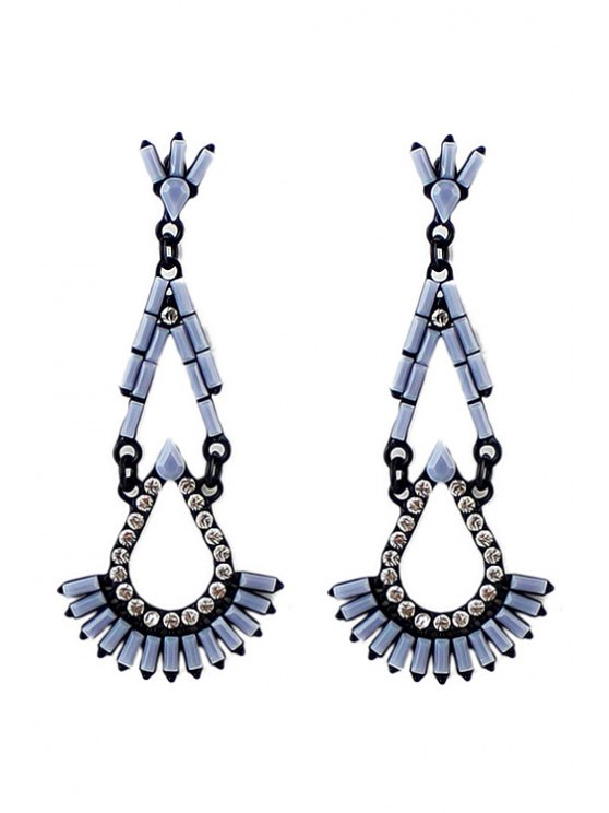 women's Pair of Faux Gem Drop Earring - GRAY