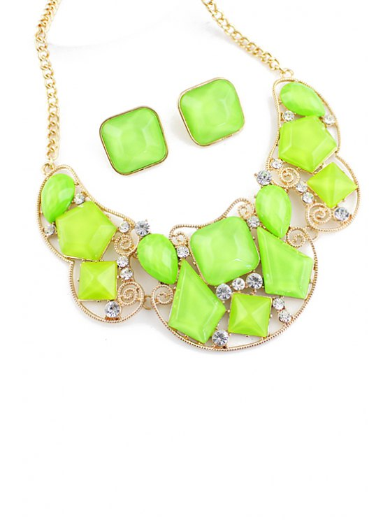 shop Faux Gem Necklace and Pair of Faux Gem Earrings - GREEN