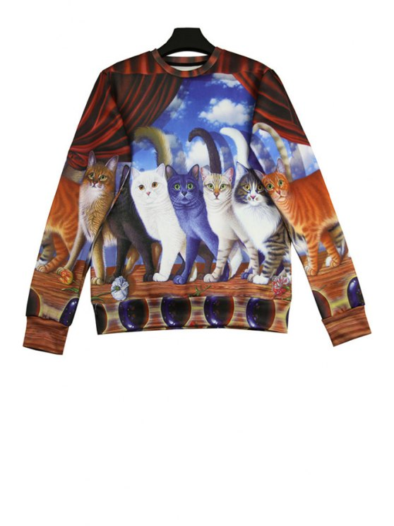 sale Kitten Print Long Sleeve Sweatshirt - COLORMIX ONE SIZE(FIT SIZE XS TO M)