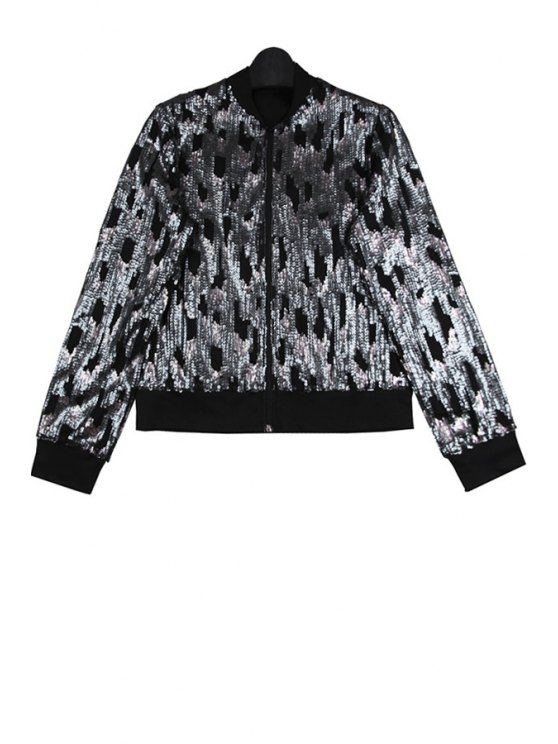 trendy Sequins Splicing Stand Collar Jacket - BLACK ONE SIZE(FIT SIZE XS TO M)