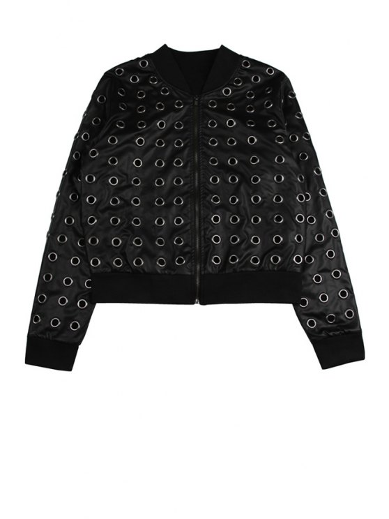 chic PU Leather Stand Collar Hollow Jacket - BLACK ONE SIZE(FIT SIZE XS TO M)
