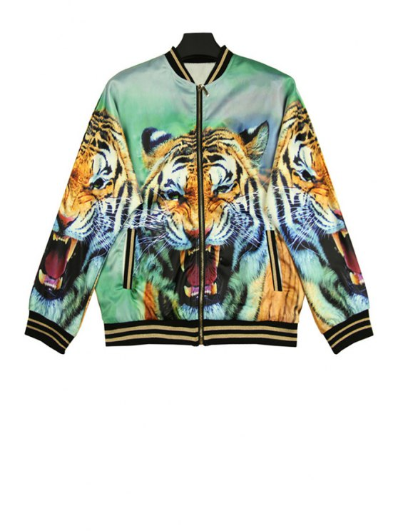 fancy Stand Collar Tiger Print Jacket - COLORMIX ONE SIZE(FIT SIZE XS TO M)