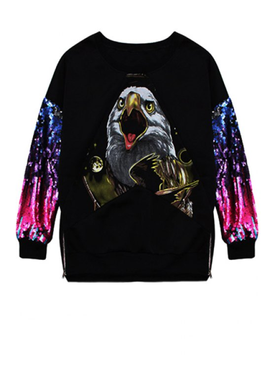 women's Eagle Print Sequins Splicing Sweatshirt - BLACK ONE SIZE(FIT SIZE XS TO M)