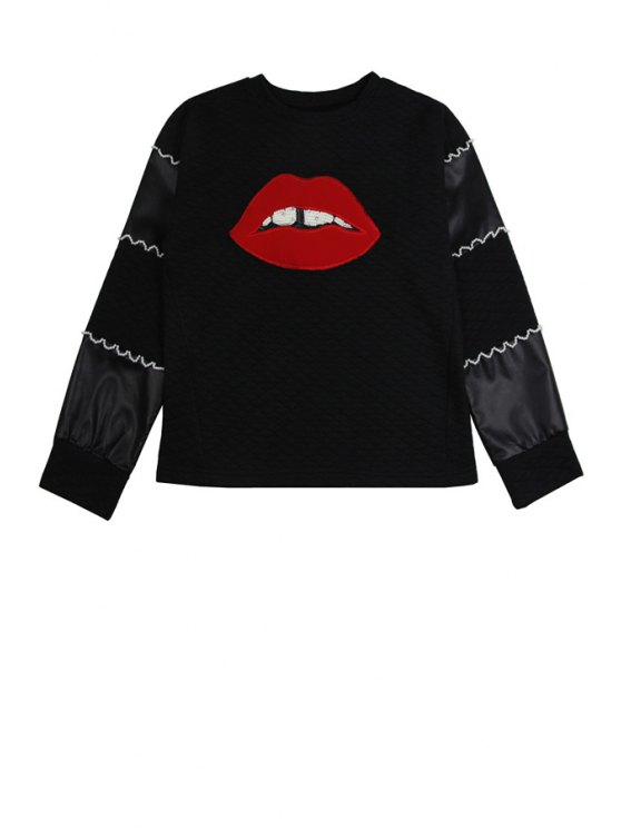 lady Lip Pattern Long Sleeve Sweatshirt - BLACK ONE SIZE(FIT SIZE XS TO M)