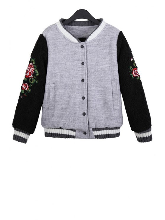 womens Floral Embroidery Color Block Jacket - GRAY ONE SIZE(FIT SIZE XS TO M)