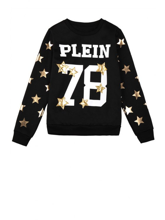 outfits Star Letter and Number Pattern Sweatshirt - BLACK ONE SIZE(FIT SIZE XS TO M)