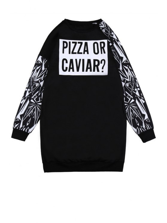 shop Long Sleeve Letter Print Sweatshirt - BLACK ONE SIZE(FIT SIZE XS TO M)