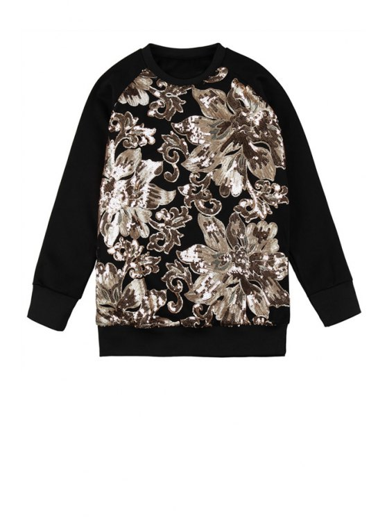 latest Sequins Floral Pattern Sweatshirt - BLACK ONE SIZE(FIT SIZE XS TO M)