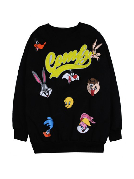 trendy Characters Print Long Sleeve Sweatshirt - BLACK ONE SIZE(FIT SIZE XS TO M)