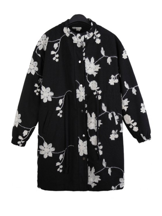 shop Floral Embroidery Long Sleeve Coat - BLACK ONE SIZE(FIT SIZE XS TO M)
