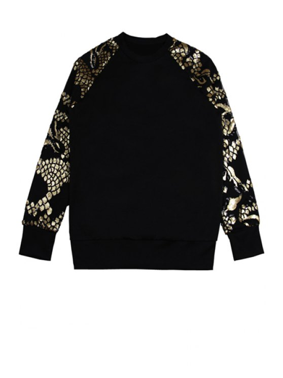 sale Sequins Splicing Round Collar Sweatshirt - BLACK ONE SIZE(FIT SIZE XS TO M)