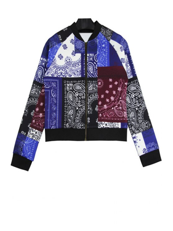 hot Retro Print Long Sleeves Jacket - BLUE ONE SIZE(FIT SIZE XS TO M)