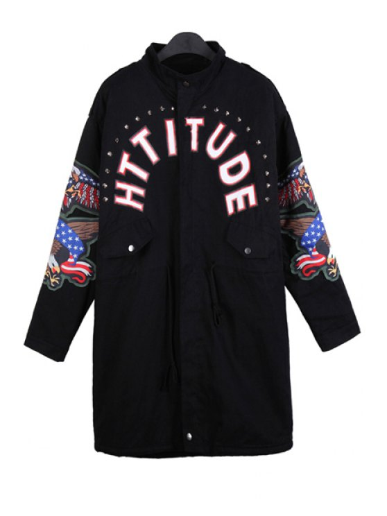 shops Letter Print Eagle Embroidery Coat - BLACK ONE SIZE(FIT SIZE XS TO M)