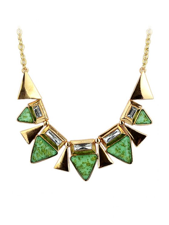 women's Faux Gemstone Triangle Necklace - GREEN