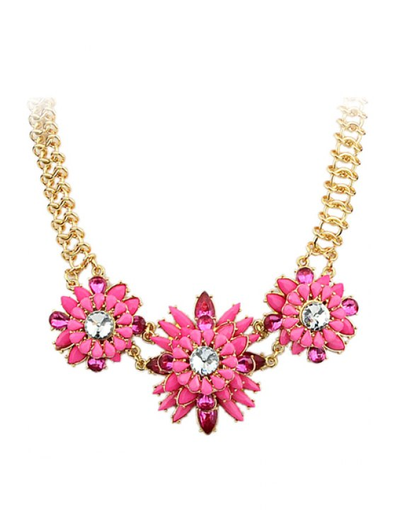best Faux Gemstone Flower Pendant Necklace - PINK