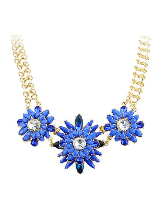 lady Faux Gemstone Flower Pendant Necklace - BLUE
