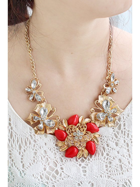 outfits Gemstone Flower Pendant Necklace - RED