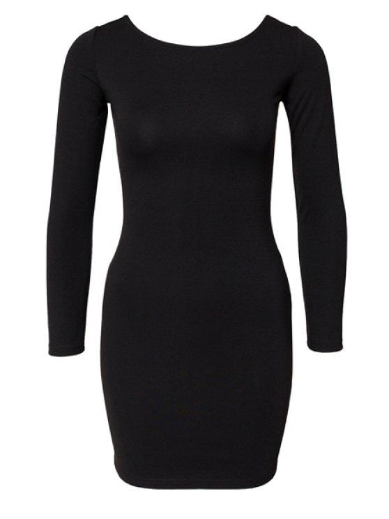 hot Black Long Sleeve Zipper Dress - BLACK XS