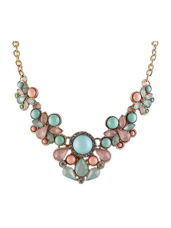 women Faux Gemstone Decorated Pendant Necklace - AS THE PICTURE