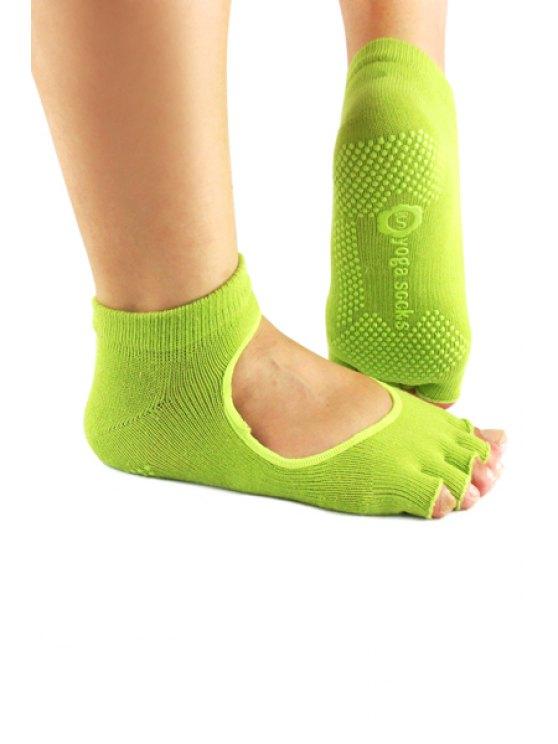 ladies Hole Design Fingerless Yoga Socks - GREEN