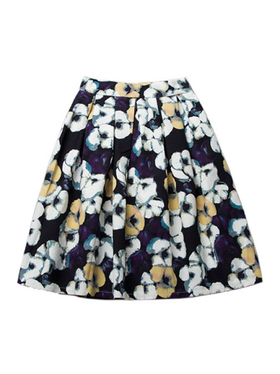 latest A-Line Floral Print Skirt - COLORMIX S