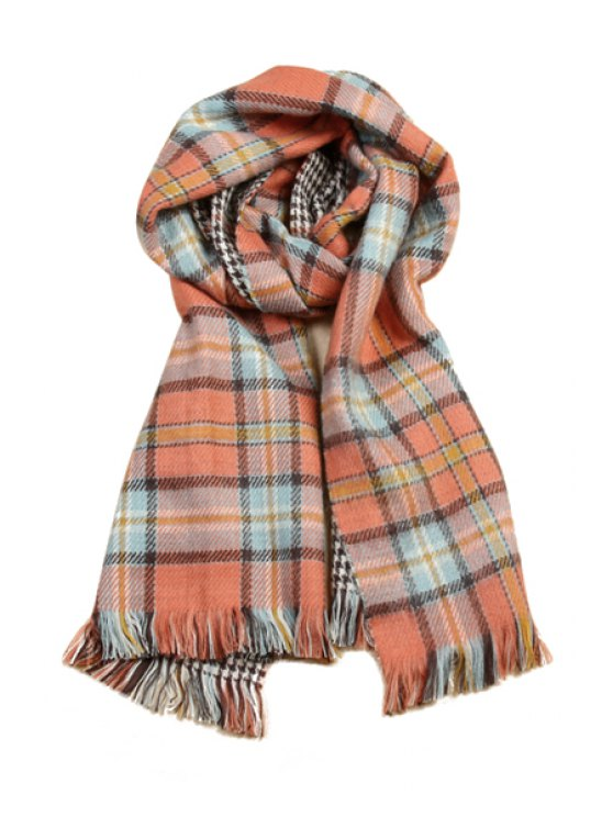 sale Plaid Houndstooth Double-Faced Pashmina - ORANGE