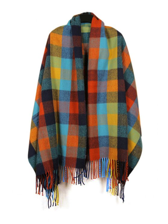 womens Multicolor Plaid Pashmina - COLORFUL