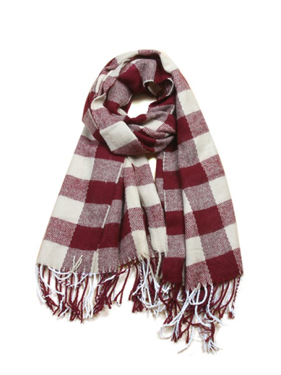 women's Checked Fringe Scarf - AS THE PICTURE