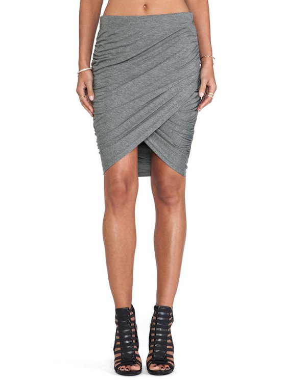 sale Solid Color Ruched Bodycon Skirt - GRAY S
