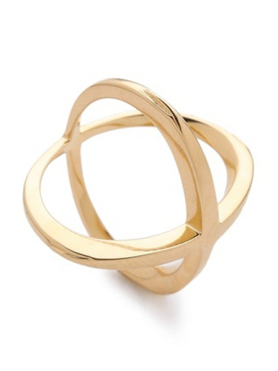 Cross Gold Plated Ring - GOLDEN ONE-SIZE Mobile