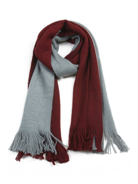 fashion Color Block Fringe Scarf - COLOR ASSORTED