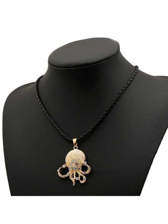 buy Fashion Women's Rhinestone Octopus Design Necklace - AS THE PICTURE